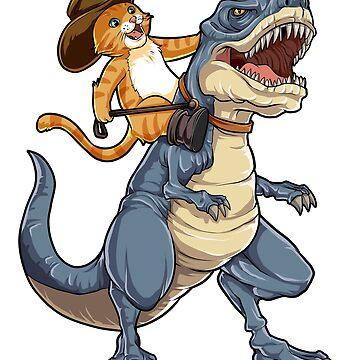 Cat Cowboy Riding T-rex Dinosaur T shirt Funny Purrassic Kitty Kitten Dino Gifts Kids Boys Girls Men Women Tees by LiqueGifts