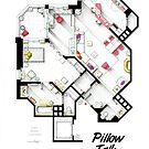 Floorplan of Jan Morrow's apartment from PILLOW TALK by Iñaki Aliste Lizarralde