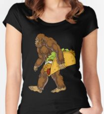 717f47050dcf Bigfoot Sasquatch Carrying Taco T shirt Funny Camping Gifts Men Women Kids  Boys Women's Fitted Scoop
