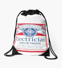Funny Electrician Shirt Beer Drinking Retired Gift T-Shirt Drawstring Bag