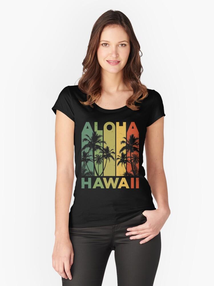 0007bac2 Aloha Hawaii Hawaiian Island T shirt Vintage 1980s Throwback Retro Gifts  Tees Men Women Kids Fitted