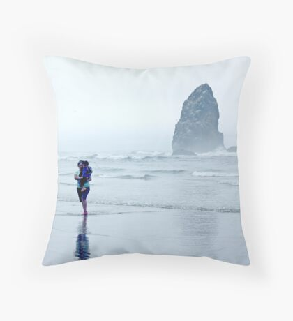 Arcadia Beach Mother & Child Throw Pillow
