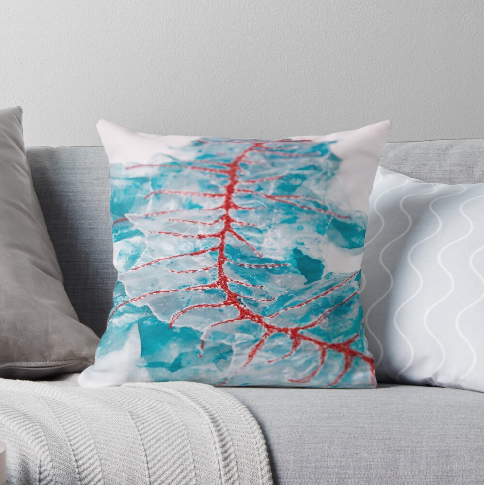 Red thread Throw Pillow