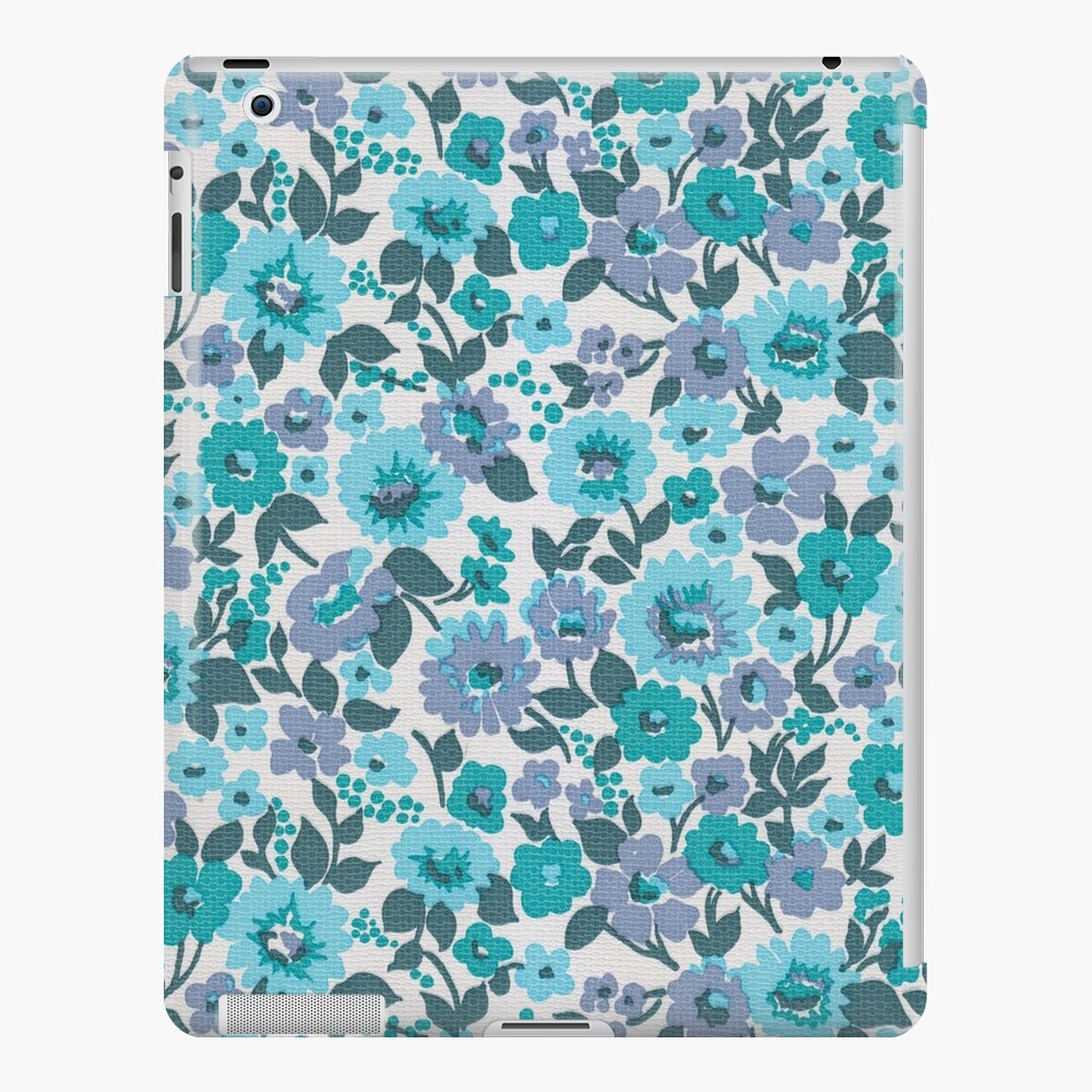 Retro Floral Vintage Wallpaper Flowers Pattern Aqua Turquoise