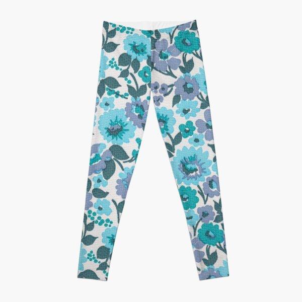 Retro Floral Vintage Wallpaper Flowers Pattern Aqua Turquoise Purple Leggings