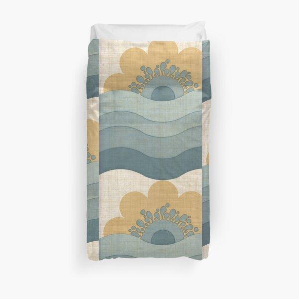 Vintage Wallpaper Retro Sun Flower Waves Pattern Duvet Cover