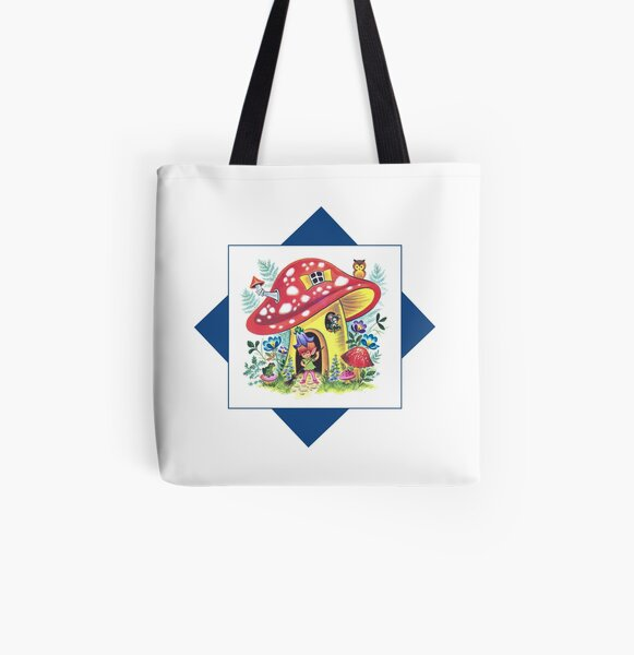 Vintage Pixie Elf In His Mushroom House Retro Kitsch Design All Over Print Tote Bag