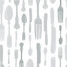 Vintage Silverware Print in Modern Farmhouse Colors by ZirkusDesign