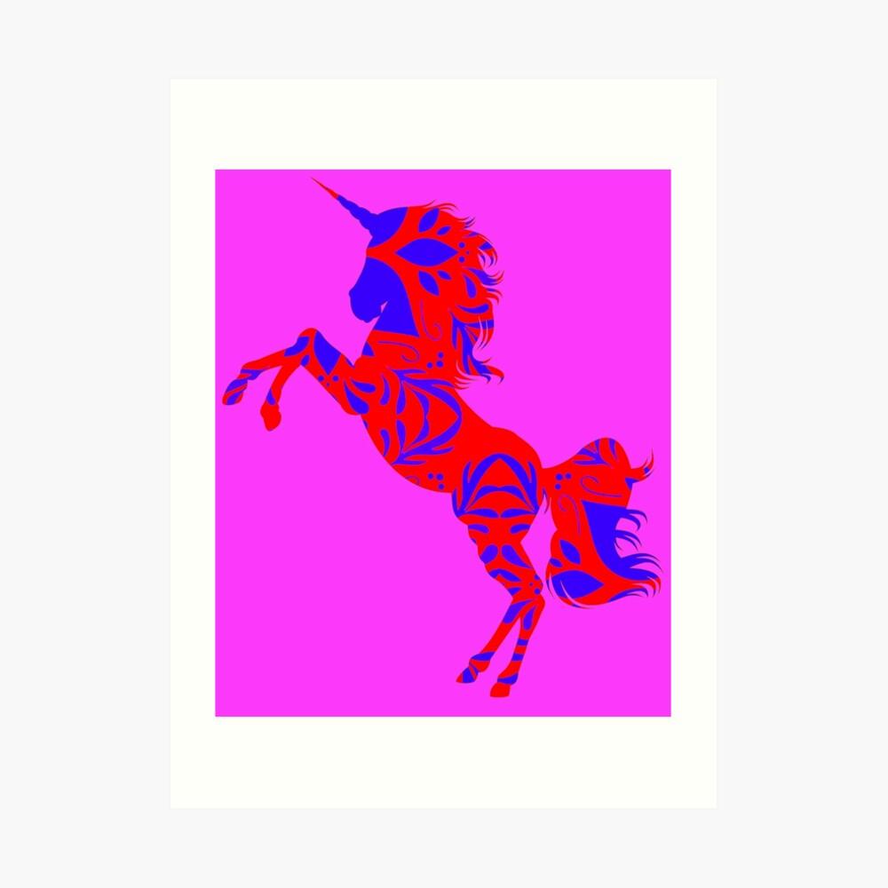Hellrotes und schwarzes Einhorn1 Kunstdruck