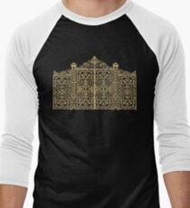 French Wrought Iron Gate | Louis XV Style | Black and Gold Men's Baseball ¾ T-Shirt