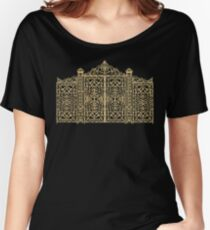 French Wrought Iron Gate | Louis XV Style | Black and Gold Women's Relaxed Fit T-Shirt