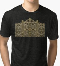 French Wrought Iron Gate | Louis XV Style | Black and Gold Tri-blend T-Shirt
