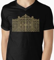 French Wrought Iron Gate | Louis XV Style | Black and Gold Men's V-Neck T-Shirt