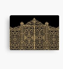 French Wrought Iron Gate | Louis XV Style | Black and Gold Canvas Print