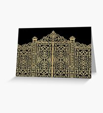 French Wrought Iron Gate | Louis XV Style | Black and Gold Greeting Card