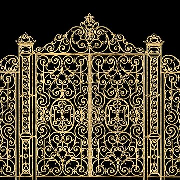 French Wrought Iron Gate | Louis XV Style | Black and Gold by EclecticAtHeART