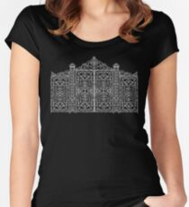 French Wrought Iron Gate | Louis XV Style | Black and Silvery Grey Women's Fitted Scoop T-Shirt