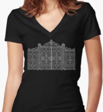 French Wrought Iron Gate | Louis XV Style | Black and Silvery Grey Women's Fitted V-Neck T-Shirt