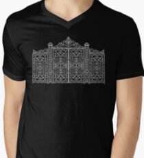 French Wrought Iron Gate | Louis XV Style | Black and Silvery Grey Men's V-Neck T-Shirt