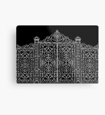 French Wrought Iron Gate | Louis XV Style | Black and Silvery Grey Metal Print