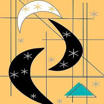 Atomic Boomerangs and Stars Yellow Black by gailg1957