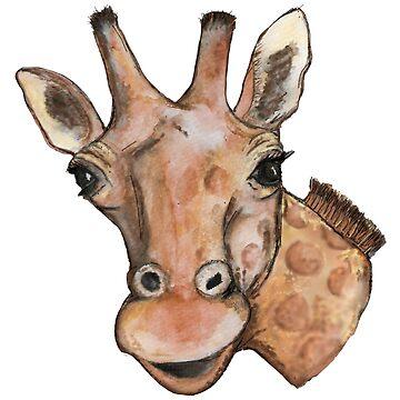 Giraffe  Watercolour & Digital Art by Hummingbirdnz