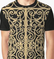 French Wrought Iron Gate | Louis XV Style | Black and Gold Graphic T-Shirt