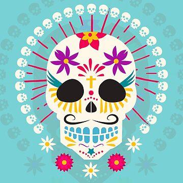 Dios De Los Muertos Day of the Dead Sugar Skull Fiesta by machmigo