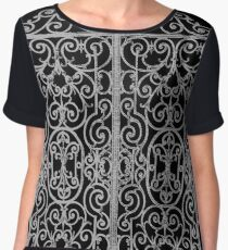 French Wrought Iron Gate | Louis XV Style | Black and Silvery Grey Chiffon Top