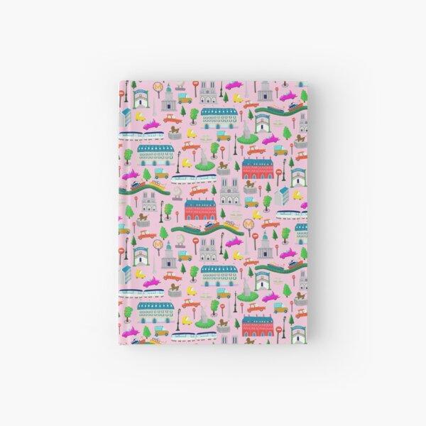 Paris City Kids Pink Background Hardcover Journal