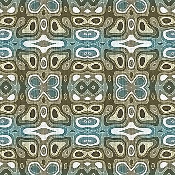 Teal Blue Green Gray Taupe Brown Hip Orient Bali Art by FudgePudge