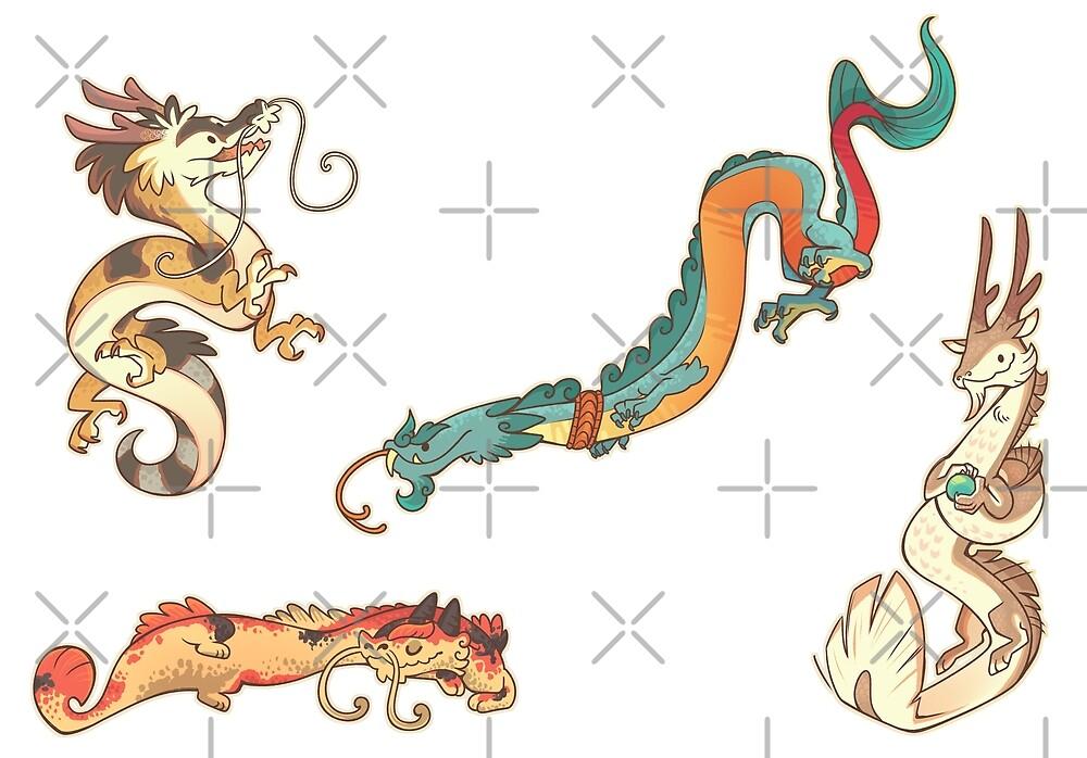 «Pegatinas de dragones asiáticos» de Colordrilos