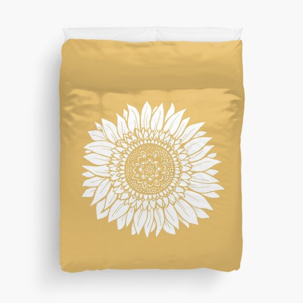 Yellow Flower Drawing Tapestry Duvet Cover