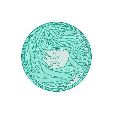 Polynesian Woman Sea Kelp Hair Circle Mono Line by patrimonio