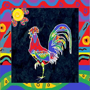 Alebrije rooster with frame by luzmita14