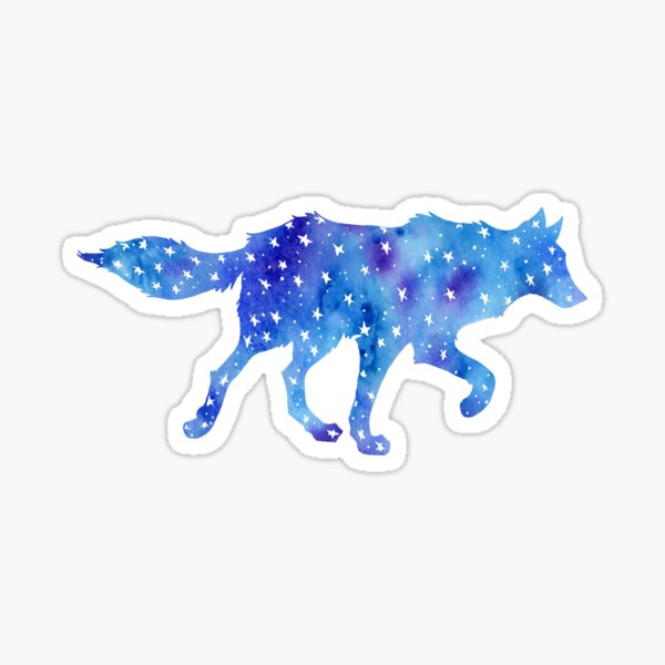 Galaxy Star Wolf Watercolor Sticker