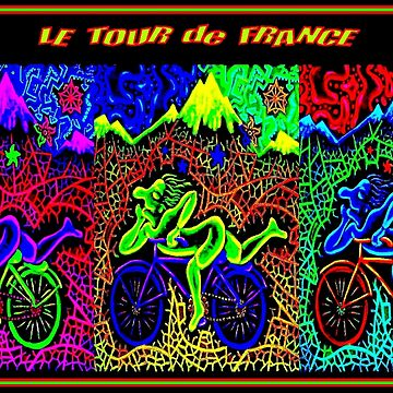 LE TOUR de FRANCE : Psychedelic Abstract Bike Race Print by posterbobs