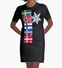 Nordische Kreuzflaggen T-Shirt Kleid