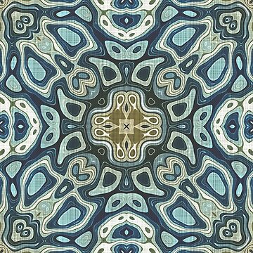 Taupe Brown Teal Blue Green Gray Hip Orient Bali Art by FudgePudge