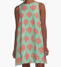 Sea foam green Damask Goddess Zee A-Line Dress