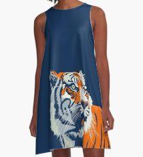 Vestido acampanado Tigre de Bengala | Naranja y azul