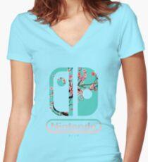 Nintendo-Schalter Shirt mit V-Ausschnitt