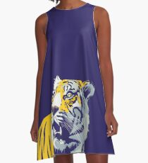 Purple and Gold Tiger | Bayou Bengal A-Line Dress