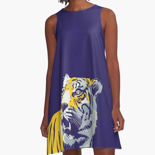 Purple and Gold Tiger   Bayou Bengal A-Line Dress