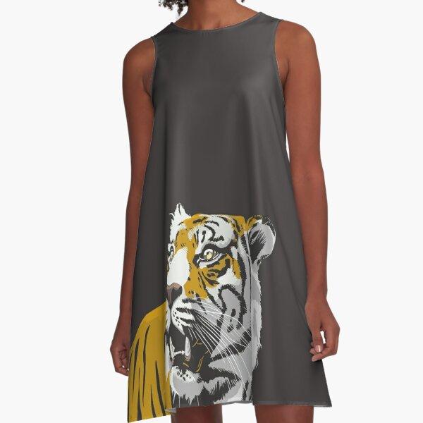 Black and Gold Tiger | Missouri A-Line Dress