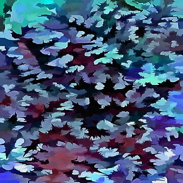 Foliage Abstract Camouflage In Aqua Blue and Black by taiche