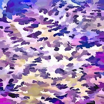 Foliage Abstract Camouflage In Pale Purple and Violet Pastels by taiche