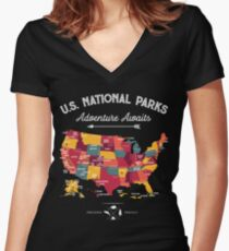 National Park Map Vintage T Shirt - All 59 National Parks Gifts Men Women Kids Women's Fitted V-Neck T-Shirt