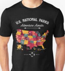 National Park Map Vintage T Shirt - All 59 National Parks Gifts Men Women Kids Unisex T-Shirt