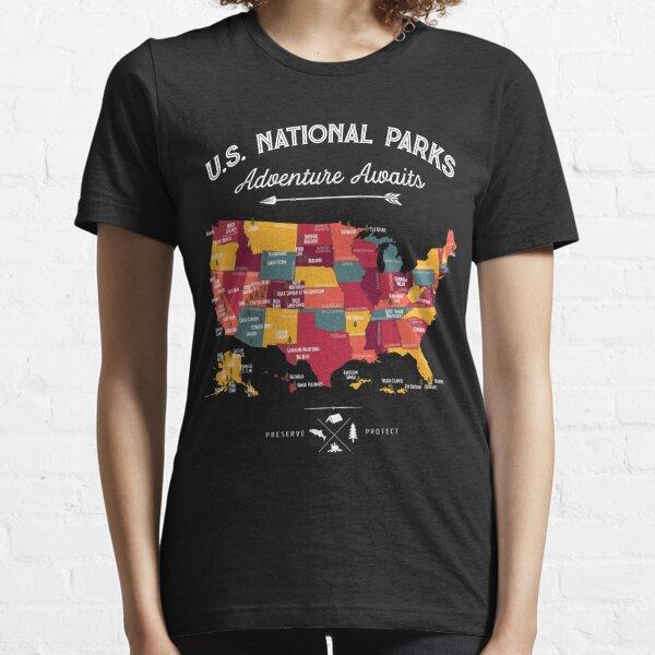 National Park Map Vintage T Shirt - All 59 National Parks Gifts Men Women Kids Essential T-Shirt